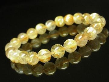 プレゼントにも人気 ゴールドタイチンルチルクォーツブレスレット 8ミリ 金運数珠