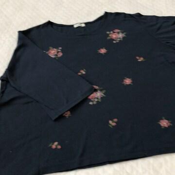 L Lサイズ ネイビー刺繍トップス らくらく便180円