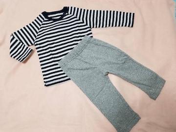 お着替え楽ちん!長袖Tシャツ+やわらかカットソーパンツセット