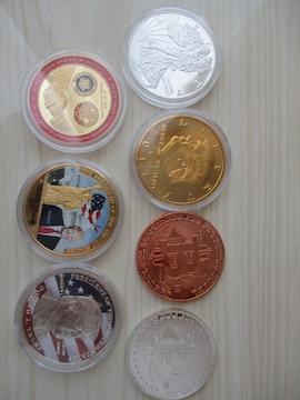 トランプ大統領関係カラー金貨銀貨メダル他計7種7枚
