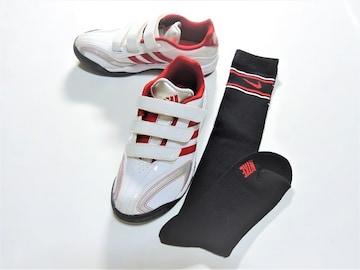 adidas&Nike Jrサッカーシューズ・ハイソックス 白22.0cm 2点