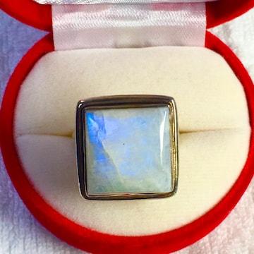 新品 ブルー ムーンストーン スクエア リング 指輪 15号