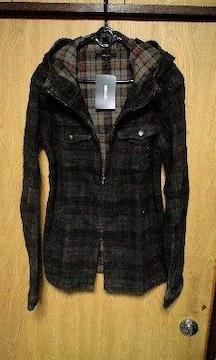 新品SHELLACシェラック 顔料コーティングフーデットハイネックチェックシャツジャケット 48