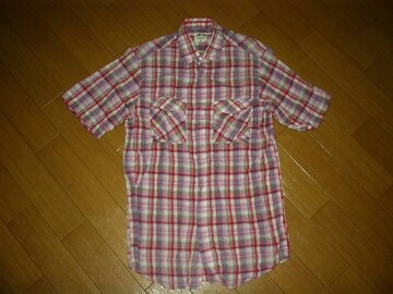 STUSSYステューシー半袖チェックシャツM赤ピンク系