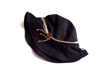 新品 定価1995円 レディース 帽子 綿 麻 リネン混 黒 UV対策
