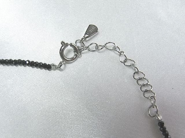500スタ☆本物淡水パールxブラックスピネル ネックレス < 女性アクセサリー/時計の