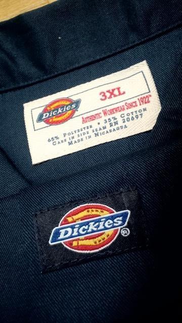 Dickies半袖ワークシャツ 紺ネイビー サイズ3XL XXXL →4XL位XXXXL < 男性ファッションの