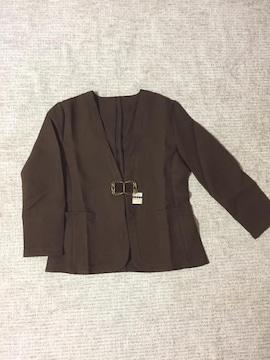 431.新品☆ノーカラージャケット☆茶色/ブラウン☆サイズ11号