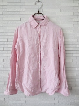 即決/ユニクロ/麻100%リネンシャツ/ライトピンク/S