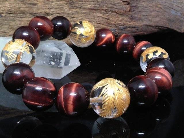 金四神獣水晶14ミリ§レッドタイガーアイ12ミリ数珠  < 男性アクセサリー/時計の
