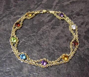 10K マルチカラー宝石 ロープチェーンブレスレット 10金