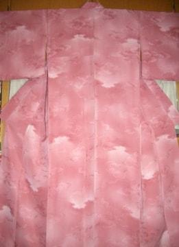 暈し薄紅梅色の 袷のお着物 未使用品
