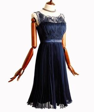 ルイ・ルエ・ブティック プリーツシフォンワンピースドレス