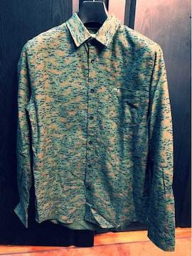 新品同様ラコステLACOSTEシャツ長袖カモフラ迷彩1212グリーン39