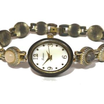 良品【980円〜】JAXIS【石付き】ヴィンテージ調腕時計