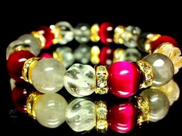 クラウディークォーツ§ピンクタイガーアイ§トルネード水晶10ミリ金ロンデル数珠