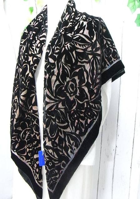 500スタ★新品タグ付き 絹xレーヨン大判ショール110x110cm