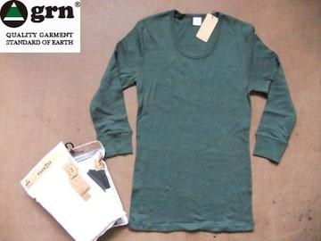 grn(ジーアールエヌ)  無地 7分袖 Tシャツ L 緑