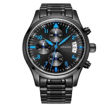 メンズ 腕時計 多針アナログ 日付表示ブルー ブラック