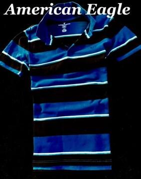 【アメリカンイーグル】Flex ポロシャツ Slim FIt US-L/Blue