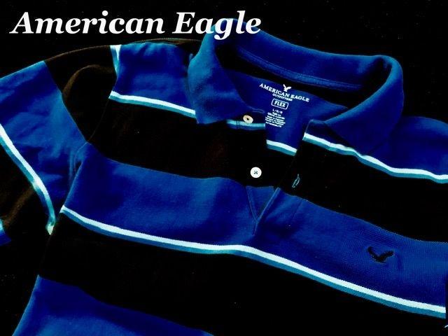 【アメリカンイーグル】Flex ポロシャツ Slim FIt US-L/Blue < ブランドの