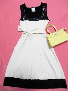 白黒スパンコールパーティーワンピースドレス薄ニットバイカラー