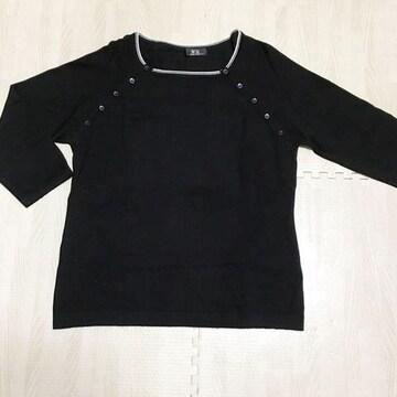 【美品】ボートネック 7分袖ニット/黒/サイズL