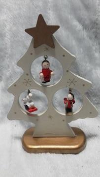 特価X'mas可愛い木ツリー人形スタンド未使用品美品必見