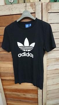 アディダス トレファイル ビッグロゴTシャツ 黒×白 XS