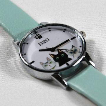 【春の大特価セール】★猫柄腕時計 DZG 三匹のネコ 水色 Wa03wa