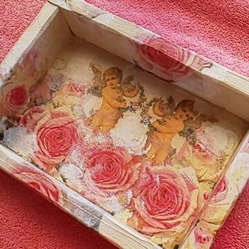 ハンドメイド☆薔薇と天使小物入れ