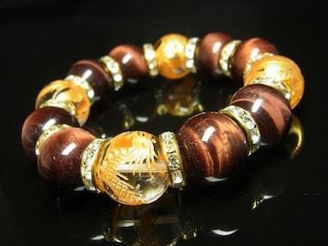 金彫四神獣本水晶&レッドタイガーアイブレスレット 16ミリ天然石数珠