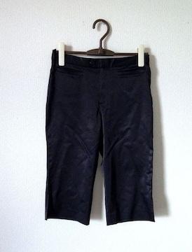 組曲■さらさら ブラック サテン カプリ サブリナ パンツ
