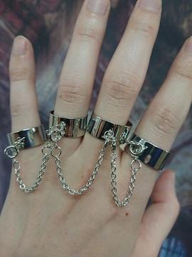 4連 リング 指輪 チェーン