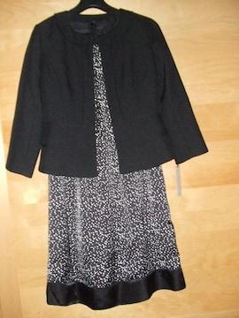 ジャケットOLスーツ4点セットMワンピ黒スカート卒入9AR水玉新品