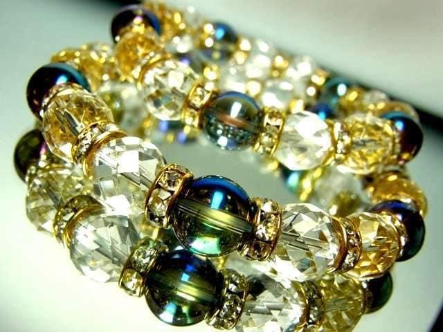 64面カット水晶ブルーオーラ10ミリ金ロンデルペア数珠 < 女性アクセサリー/時計の