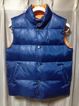 ビームスボーイ ダウンベスト ブルゾン リバーシブル 青×オレンジ ジャケット ユニセックス