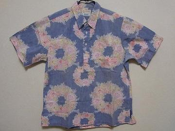 即決!USA古着●Kahalaフラワーデザインプルオーバー半袖シャツ!ハワイアン