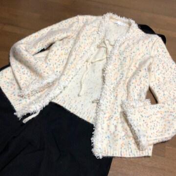 【ワールドAJUDA】カシミア混羽織ポンポンニットマルチカラー