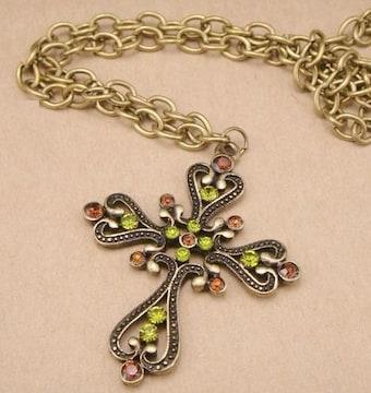 新品ゴスロリ姫系アンティーク調十字架クロスネックレス