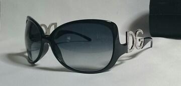 正規良 激レア ドルチェ&ガッバーナ DGライトストーンロゴサングラス 黒×銀 付属有