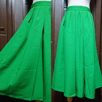 M、L位/ロング丈フレアスカート/緑
