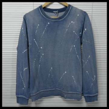SALEインディゴカットデニム抜染ペイントトレーナー/BLUE/M