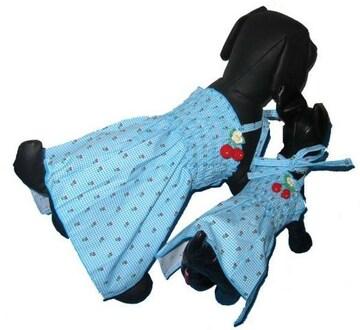 J15)XLサイズ!チェリー付チェックワンピース水色犬服Dogセレブさくらんぼ