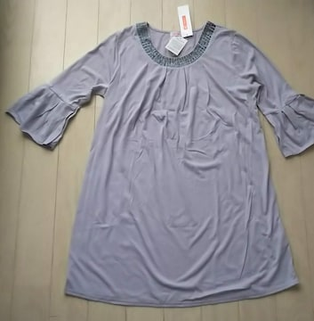 LL★DEBUTTO★襟ビーズワンピース★新品★大きいサイズ