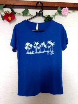 男女兼用■ハワイアン ヤシの木 Tシャツ ブルー M