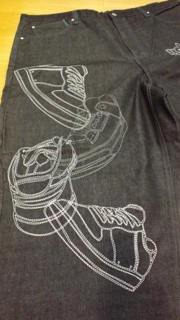 SouthーPole超ビッグデザインワイドデニム サイズW52 ウエスト134cm < 男性ファッションの