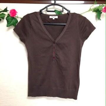 ナチュラルビューティー■茶 ストレッチ Tシャツ カットソー S