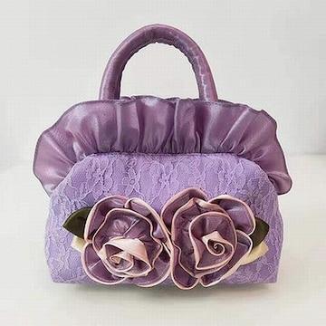 新品ローズ&フリルやわらかナイロンハンドバッグ紫パープルレディースバラ