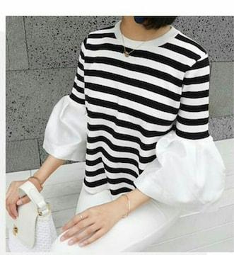 ボーダーフリル袖シャツ